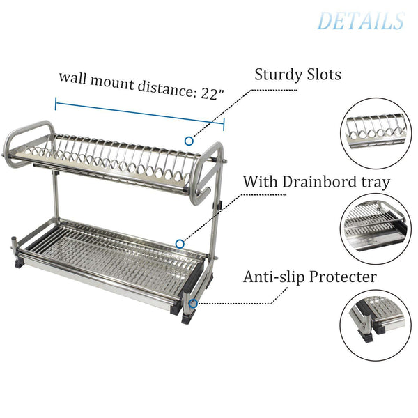 Discover 23 2 kitchen dish rack 2 tier stainless steel cabinet rack wall mounted with drainboard set dish bowl cup holder 23 2 inch