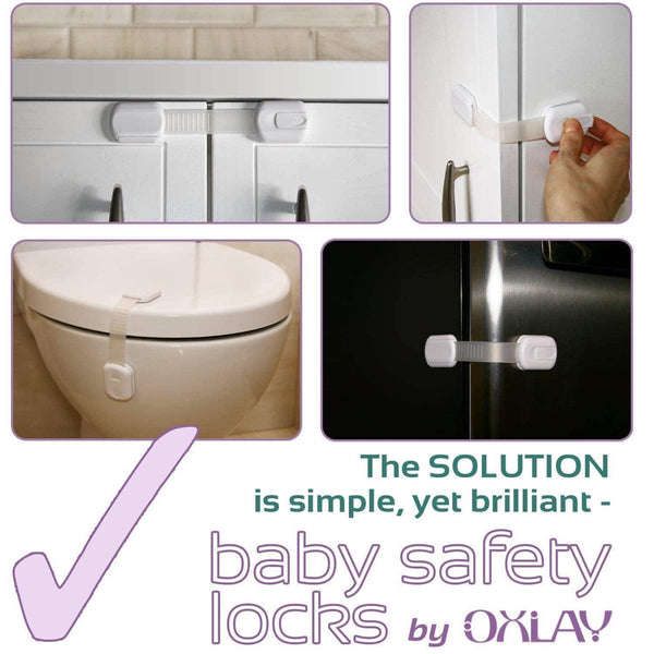 Explore baby proofing safety cabinet locks child proof latches for drawer cupboard dresser doors closet oven refrigerator adjustable childproof straps by oxlay white 6 pack