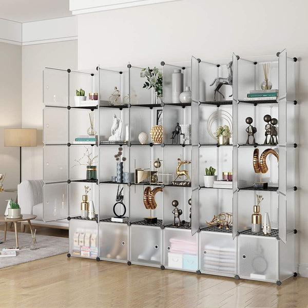Budget kousi portable storage shelf cube shelving bookcase bookshelf cubby organizing closet toy organizer cabinet transparent white 30 cubes storage