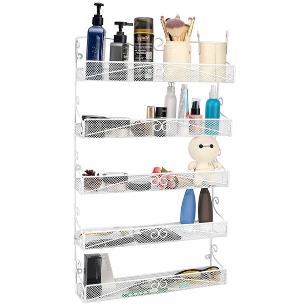 Purchase spice rack hanging wall mounted spice rack organizer shelf for pantry kitchen cabinet door 5 tier white