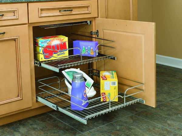 Buy rev a shelf 5wb2 2122 cr 21 in w x 22 in d base cabinet pull out chrome 2 tier wire basket