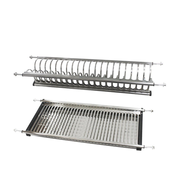 Latest gobrico stainless steel 2 tier dish drying rack for width 800mm cabinet plate bowl storage organizer holder
