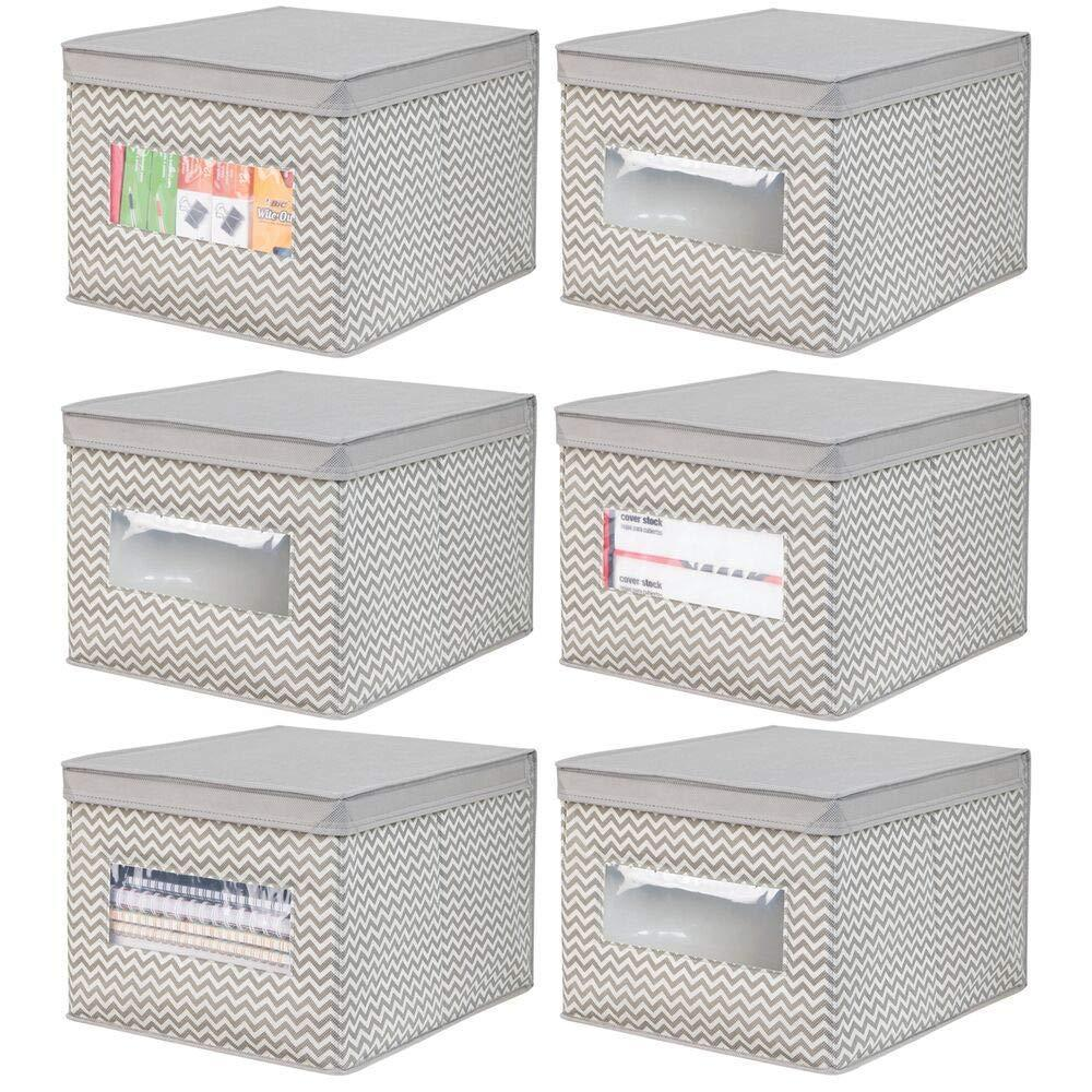 Best mdesign decorative soft stackable fabric office storage organizer holder bin box container clear window lid for cabinets drawers desks workspace large foldable chevron print 6 pack taupe