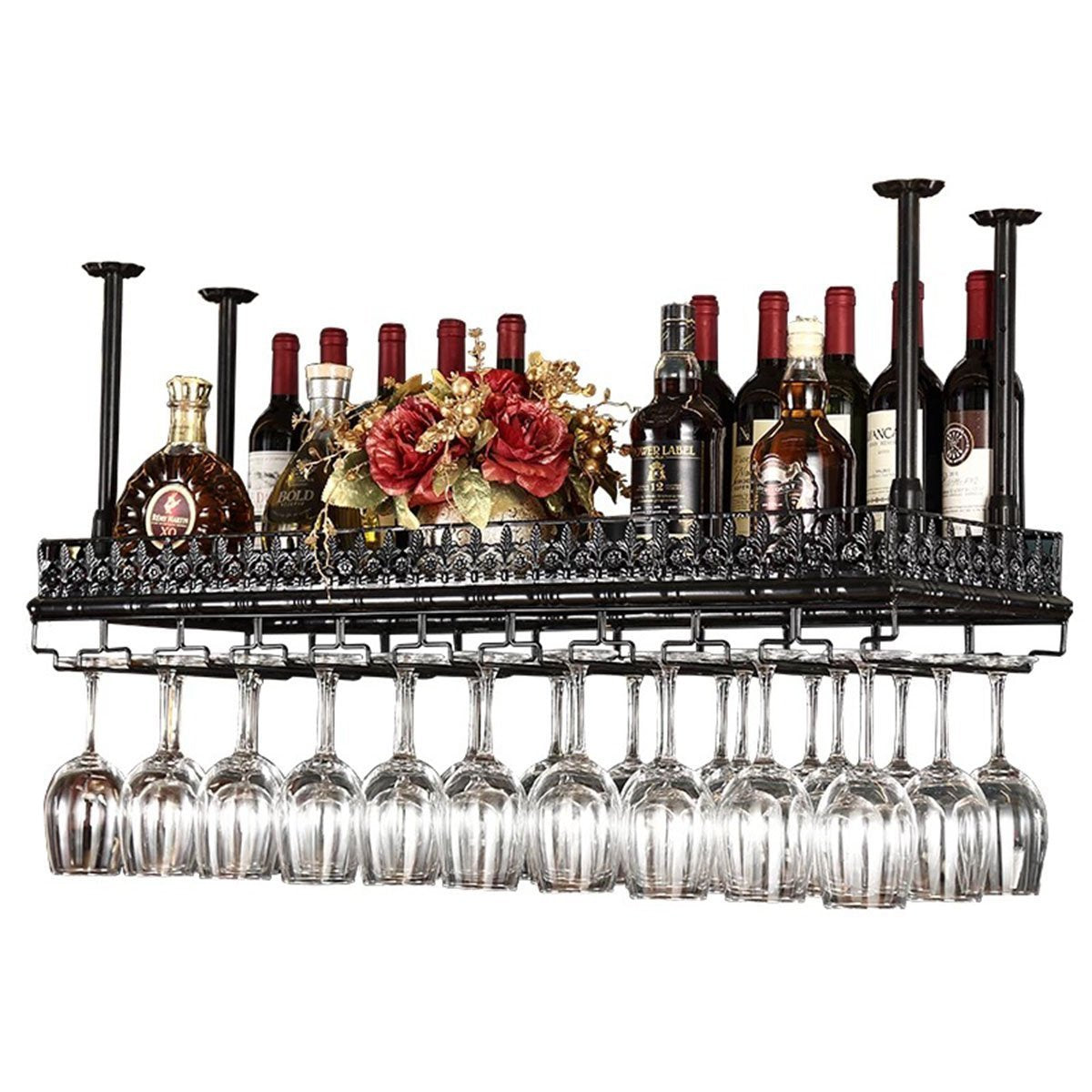 On amazon warm van industrial metal vintage bar wall mounted wine racks wine glass hanging rack under cabinet cup shelf restaurant cafe kitchen organization and storage shelveblack 47 2l