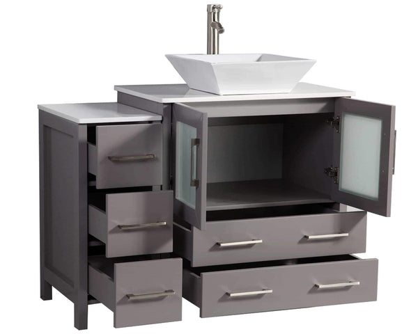 Latest vanity art 42 inch single sink bathroom vanity set with compact 2 door 5 drawer slim and modern white ceramic top bathroom cabinet free mirror gray va3130 42