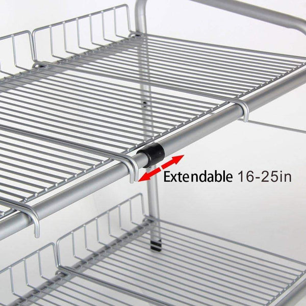 Featured flagship 2 tiers under sink strainer stainless steel silver expandable cabinet shelf kitchen and bath multipurpose tidy organizer storage rack