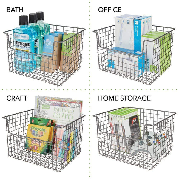 Shop mdesign metal kitchen pantry food storage organizer basket farmhouse grid design with open front for cabinets cupboards shelves holds potatoes onions fruit 12 wide 8 pack graphite gray