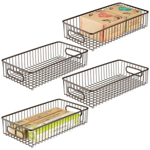 Products mdesign extra long household metal drawer organizer tray storage organizer bin basket built in handles for kitchen cabinets drawers pantry closet bedroom bathroom 8 wide 4 pack bronze