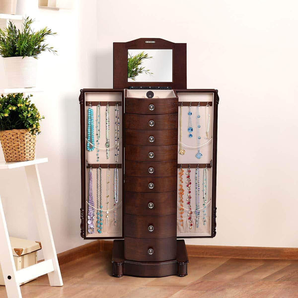 Products giantex large jewelry armoire cabinet with 8 drawers 2 swing doors 16 hooks top mirror boxes standing cambered front storage chest stand large standing jewelry armoire dark walnut