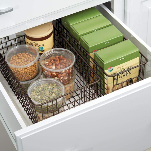 Home mdesign farmhouse decor metal wire food organizer storage bin basket with handles for kitchen cabinets pantry bathroom laundry room closets garage 16 x 9 x 6 in 8 pack bronze