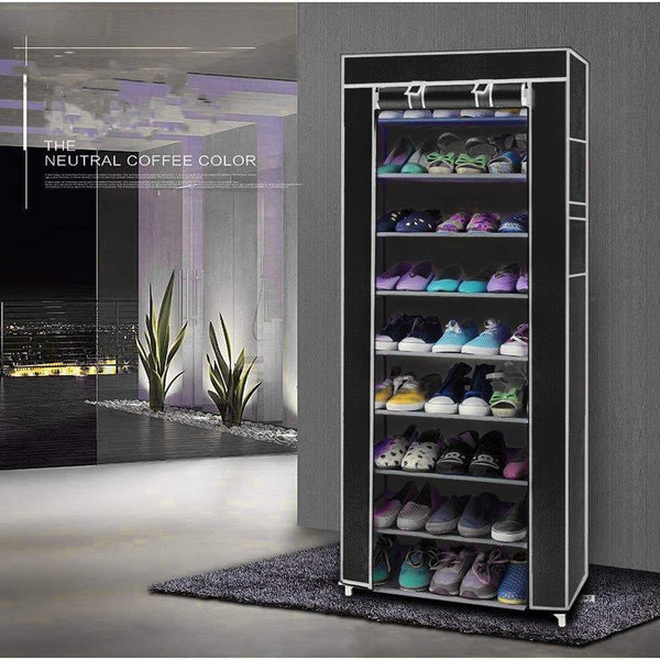 Heavy duty civilys 10 tier shoe tower rack with cover 27 pair space saving closet shoe storage boot organizer cabinet us stock black