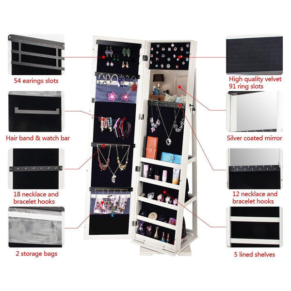 Cheap bonnlo cheval jewelry armoire 360 degree rotary swivel mirrored cabinet w 63 h full length mirror lockable decorate closet makeup organizer floor bedroom solid freestanding new year gift