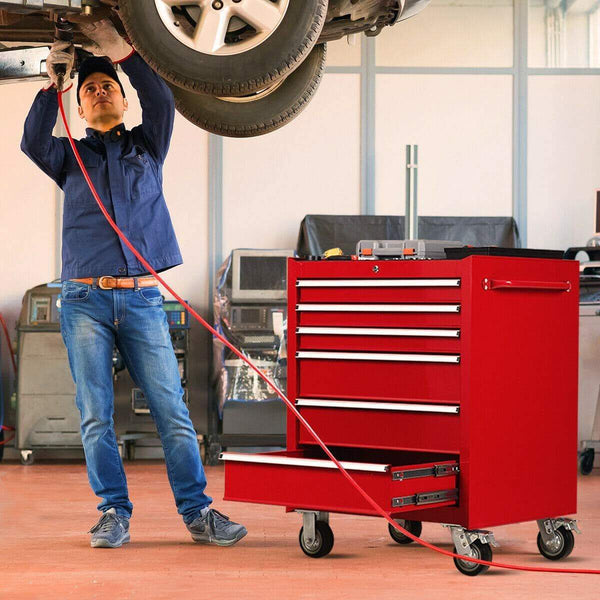 Discover the goplus 30 x 24 5 tool box cart portable 6 drawer rolling storage cabinet multi purpose tool chest steel garage toolbox organizer with wheels and keyed locking system classic red