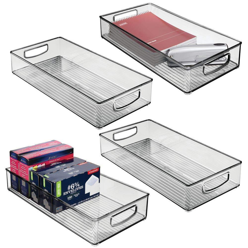 Shop here mdesign plastic storage bin with handles for office desk book shelf filing cabinet organizer for sticky notes pens notepads pencils supplies bpa free 16 deep 4 long smoke gray