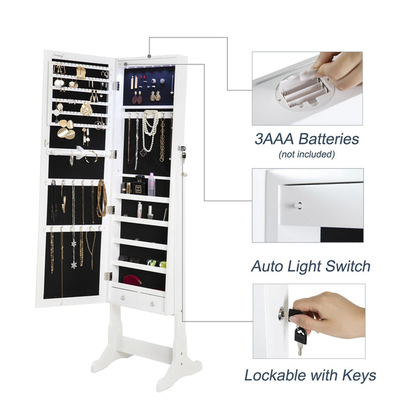 Top finnhomy lockable mirrored jewelry armoire storage organizer free standing makeup cabinet holder w led light stand for ring necklace earring cosmetics broach bracelet white