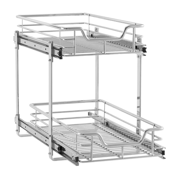 Amazon household essentials c21221 1 glidez 2 tier sliding cabinet organizer 11 5 wide chrome
