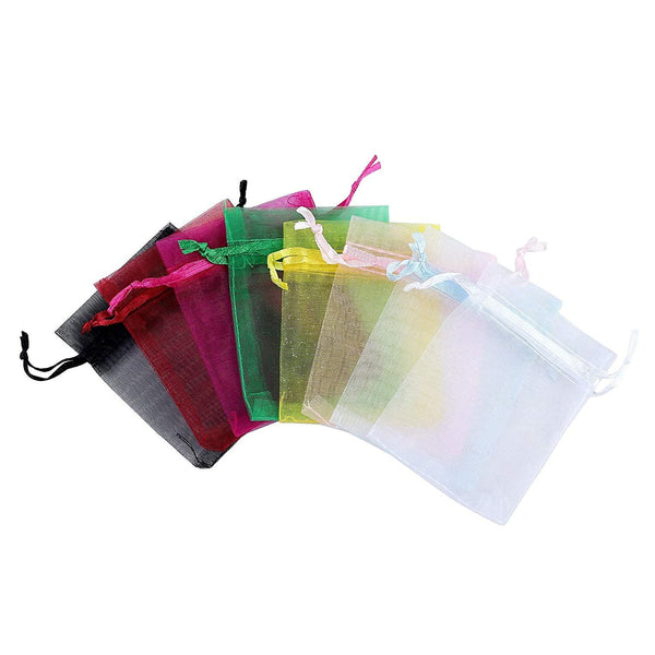 Anleolife 100Pcs 5x7 Inches Sheer Organza Bags Drawstring Gift Bags Mesh Jewelry Pouches For Party Wedding Christmas Valentine Favors Organza