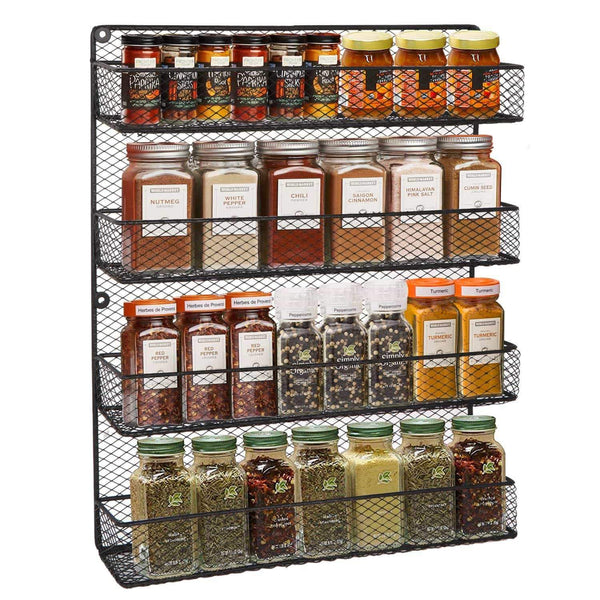 Top bbbuy 4 tier spice rack organizer wall mounted country rustic chicken holder large cabinet or wall mounted wire pantry storage rack great for storing spices household stuffs