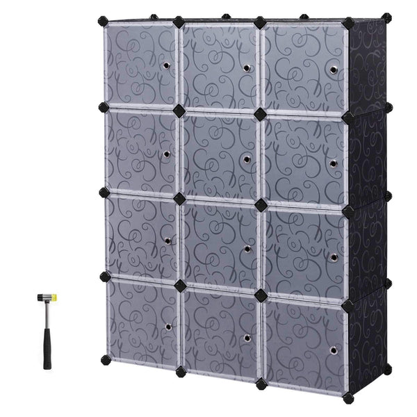 Latest songmics cube storage organizer 12 cube closet storage shelves diy plastic closet cabinet modular bookcase storage shelving with doors for bedroom living room office black ulpc34h