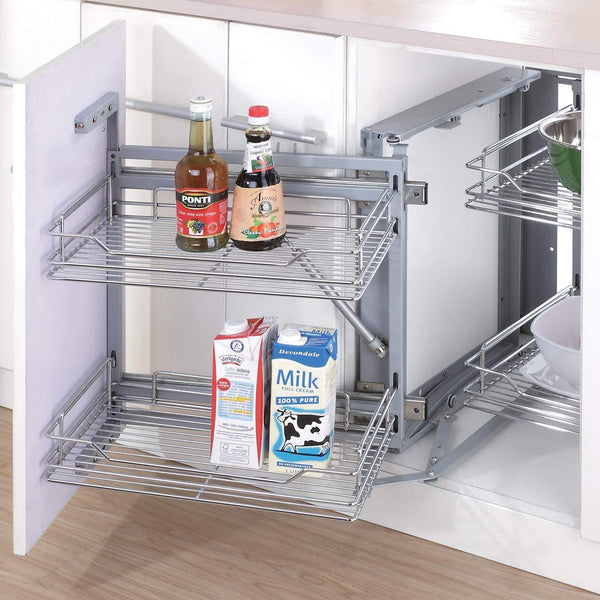 The best 34 6x21 3x8 3 in under cabinet pull out chrome 4 tier wire basket organizer cabinet dish rack shelves bowl utensils holder full pullout set gray bottom