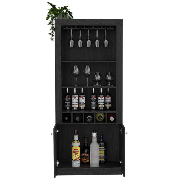 Best seller  tuhome montenegro collection bar cabinet home bar comes with a 5 bottle wine rack storage cabinets 3 shelves and a 15 wine glass rack with a modern dark weathered oak finish