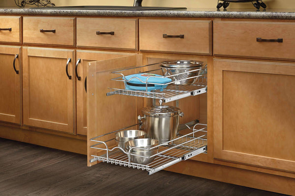 Top rev a shelf 5wb2 1522 cr 15 in w x 22 in d base cabinet pull out chrome 2 tier wire basket