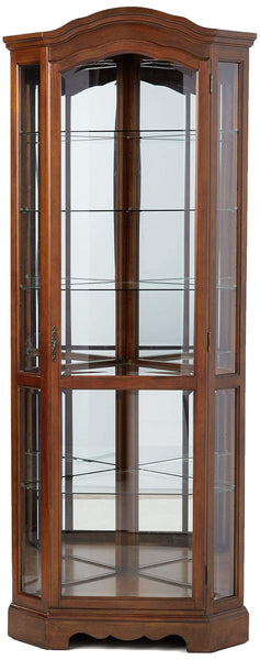 Exclusive 5 shelf corner curio cabinet medium brown and clear