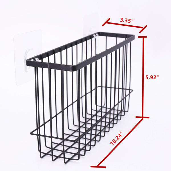 Purchase over the cabinet door organizer holder einfagood over the cabinet basket with adhesive pads and 2 adhesive hooks black coat 2 pack 1 door basket