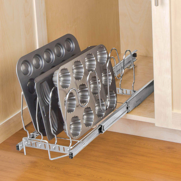Shop here smart design expandable roll out lid bakeware organizer w adjustable dividers hardware long steel metal holds 100 lbs cabinets cookware items kitchen 21 40 x 8 5 inch chrome