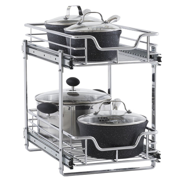 Try household essentials c21221 1 glidez 2 tier sliding cabinet organizer 11 5 wide chrome