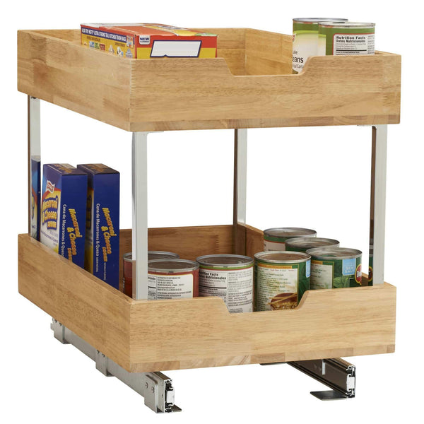 Best household essentials 24521 1 glidez bamboo 2 tier sliding cabinet organizer 14 5 wide wood