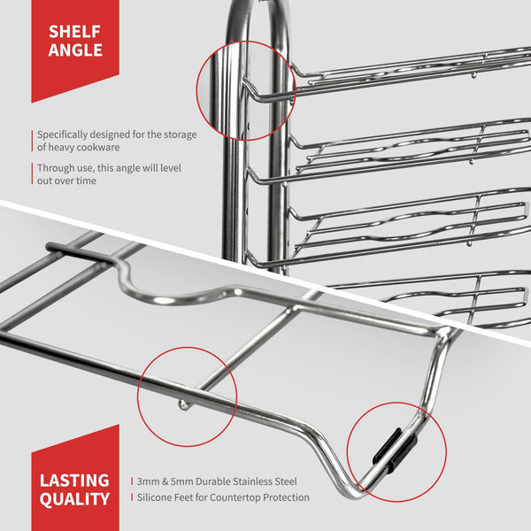 "BetterThingsHome 5-Tier Height Adjustable Pan and Pot Organizer Rack: Adjust in increments of 1.25"", 10, 11 & 12 Inch Cookware Lid Holder, Stainless Steel (16.5"" Tall)"