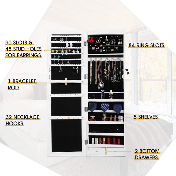 Kitchen cloud mountain jewelry cabinet 6 leds jewelry armoire lockable wall door mounted jewelry cabinet organizer with mirror 2 drawers bedroom living room cloakroom closet white