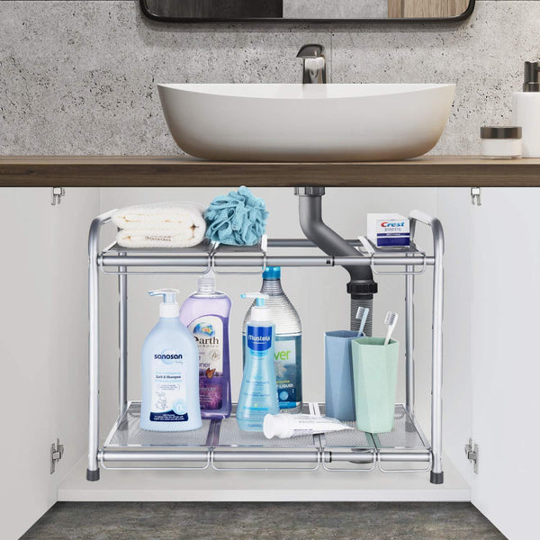 Buy bextsware under sink shelf organizer 2 tier storage rack with flexible expandable 15 to 27 inches for kitchen bathroom cabinet