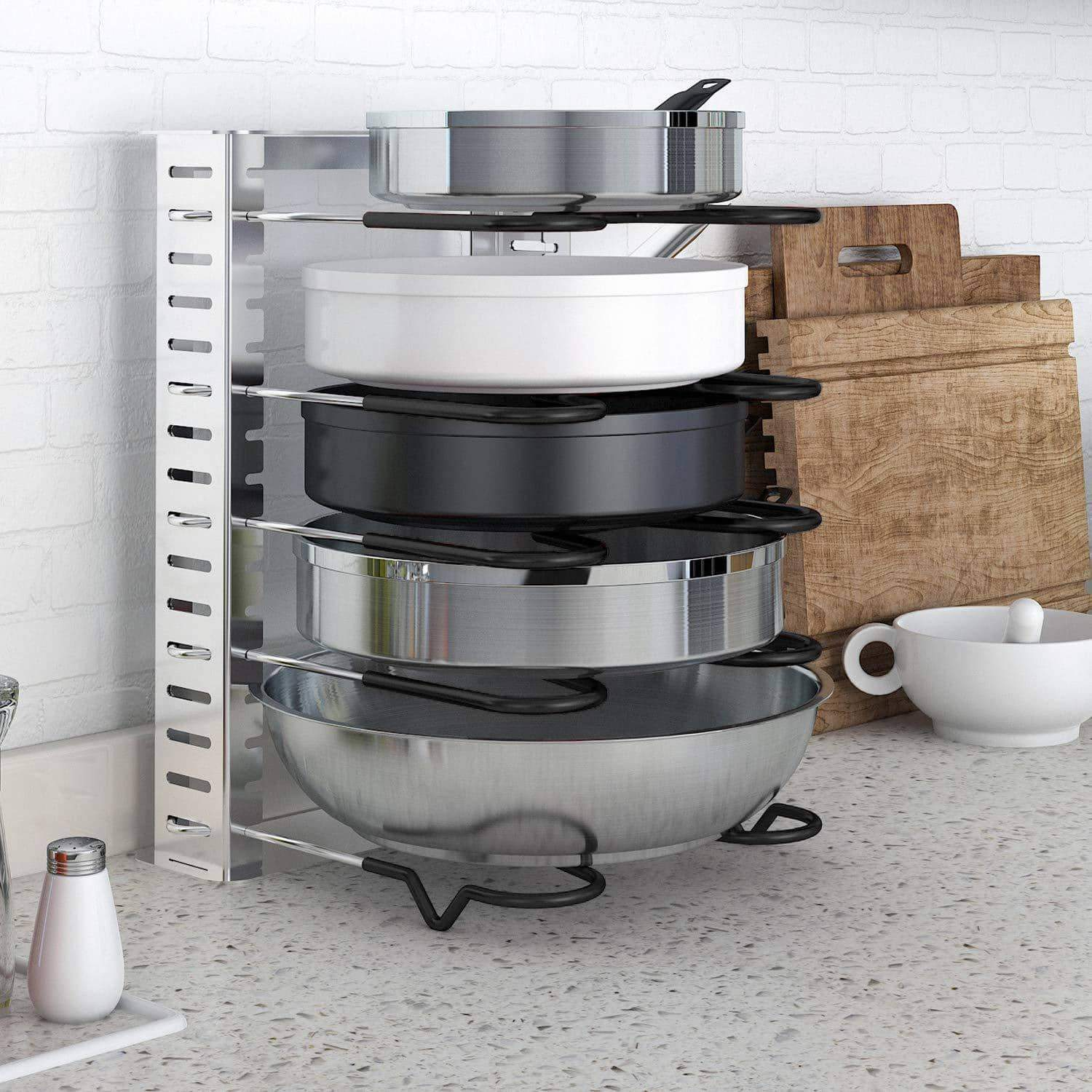 Best lifewit expandable adjustable kitchen cabinet pantry pan and pot lid organizer rack holder 5 tier compartments cupboard bakeware lid plate holder silver and black 1