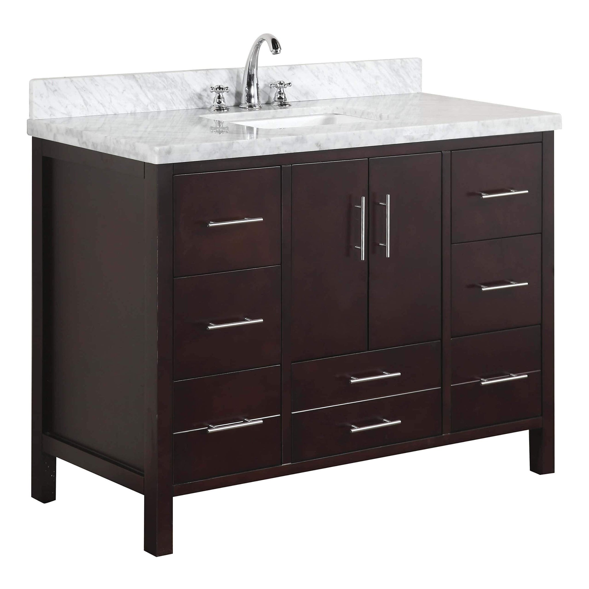 Order now kitchen bath collection kbc039brcarr california bathroom vanity with marble countertop cabinet with soft close function and undermount ceramic sink carrara chocolate 48