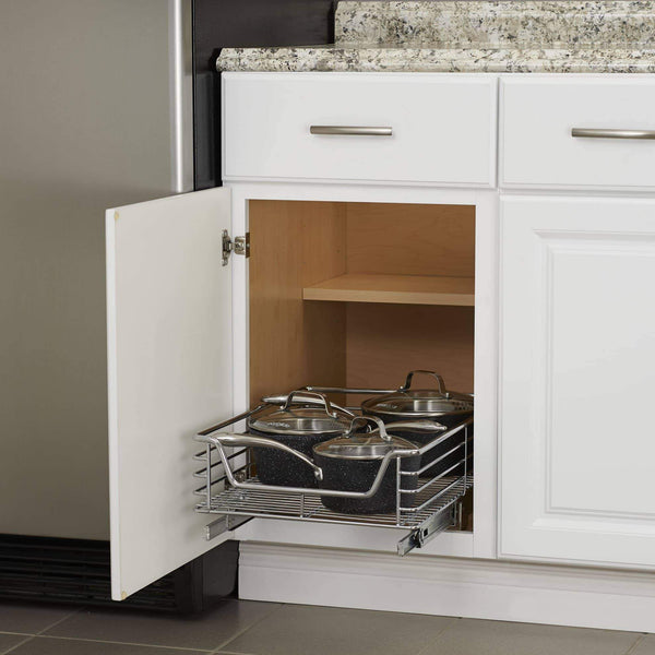 Get household essentials c1521 1 glidez extra deep under sink sliding organizer pull out cabinet shelf chrome 14 5 inches wide