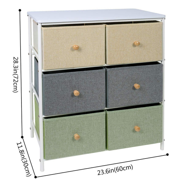 Storage organizer lifewit small storage drawer unit with metal frame for children small clothes organizer with wooden tabletop for livingroom bedroom cabinet with 6 easy pull fabric drawers 3 tier