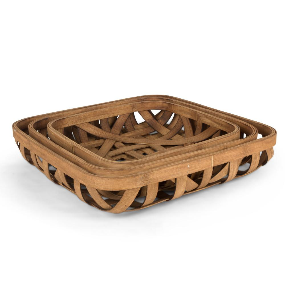 Assorted-Size Traditional, Nested Tobacco Baskets in Light Brown with  Bamboo Wood Base (Set of 3)