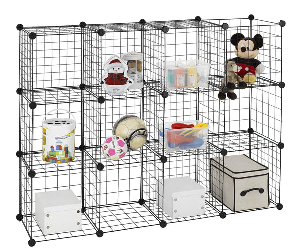 Cheap finnhomy 12 storage cubes multi use diy wire grid organizer closet organizer shelf cabinet wire grids panels garage storage rack sets shelving units for books plants toys shoes clothes black