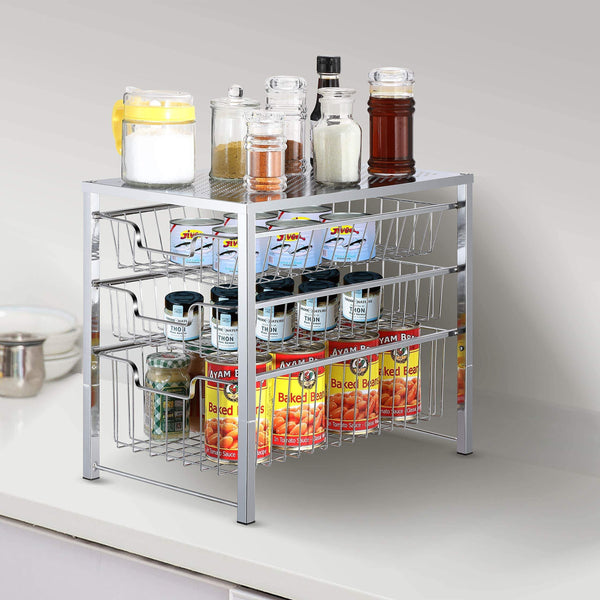 Heavy duty simple trending 3 tier under sink cabinet organizer with sliding storage drawer desktop organizer for kitchen bathroom office stackbale chrome