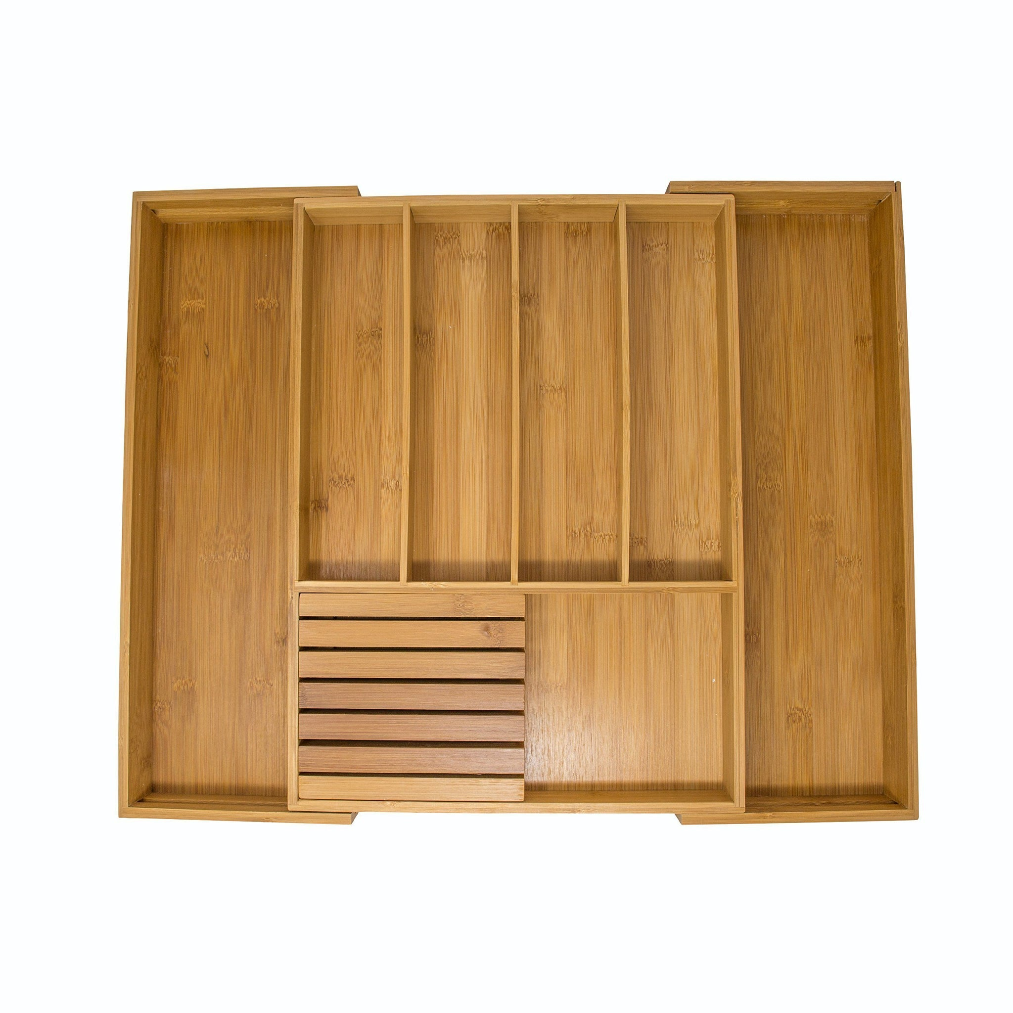 Vivaware Expandable Bamboo Kitchen Drawer Organizer , 6 Roomy Spaces and Knife Block. 100% Bamboo Eco-Friendly , Expandable Adjustable Utensil Trays