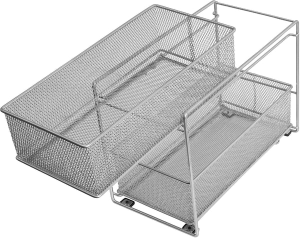Exclusive ybm home silver 2 tier mesh sliding spice and sauces basket cabinet organizer drawer 2304