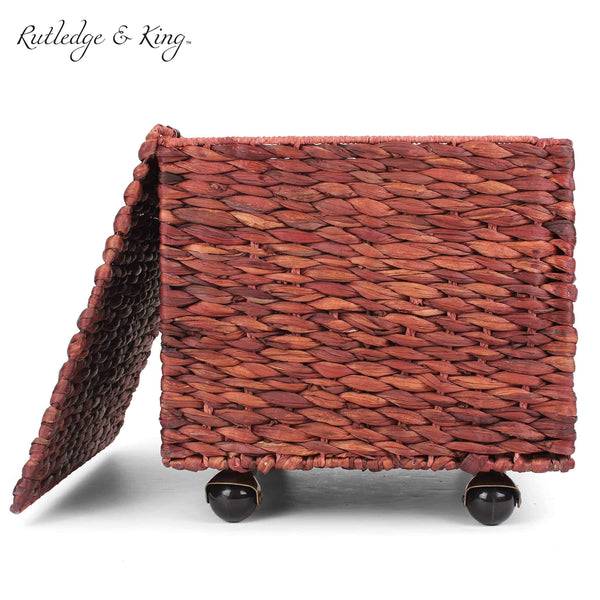 Best seller  seagrass rolling file cabinet home filing cabinet hanging file organizer home and office wicker file cabinet water hyacinth storage basket for file storage russet brown