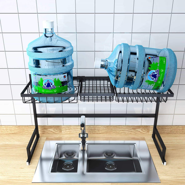 New over sink dish drying rack kitchen organizer and dish drainer with 7 interchangeable racks and caddies plus bonus wine glass rack that mounts to cabinetry