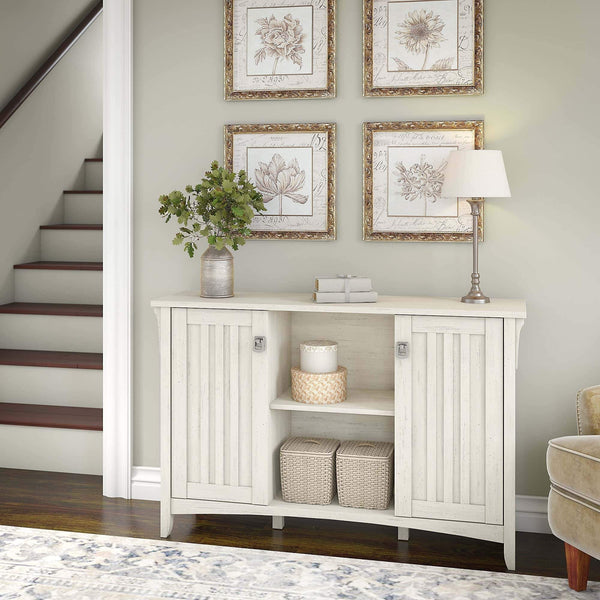 Discover bush furniture salinas accent storage cabinet with doors in antique white