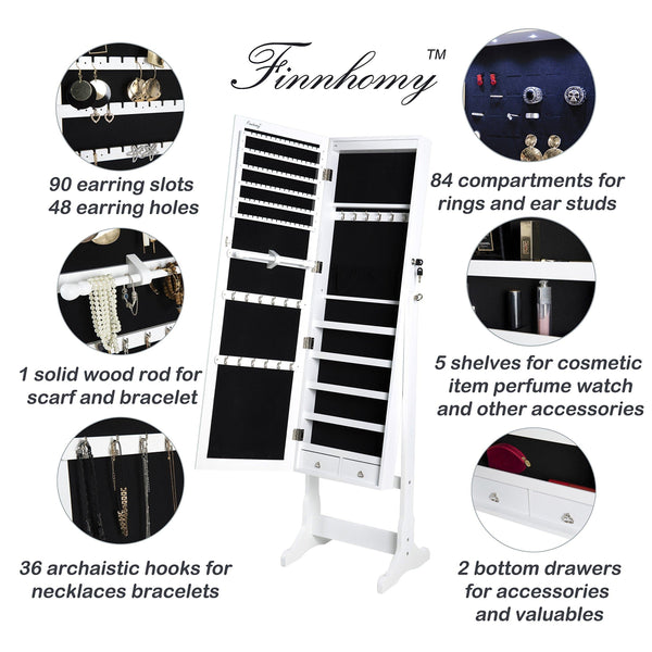 Top rated finnhomy lockable mirrored jewelry armoire storage organizer free standing makeup cabinet holder w led light stand for ring necklace earring cosmetics broach bracelet white