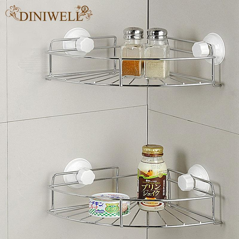 Home Storage Fan-shaped Bathroom Suction Corner Rack With Removable Wall Mount Holder Shelf  For Bath Kitchen Organizer