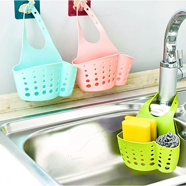 Bathroom Shelf Soap Sponge Holder ,Kitchen Organizer Wall Shelf Sponge Storage Rack Hooks  Hanging Storage Basket