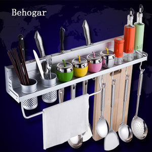 Behogar Kitchen Aluminum Pantry Cookware Spice Dinnerware Kitchenware Shelf Storage Utensil Cutlery Rack Holder Organizer w/Hook